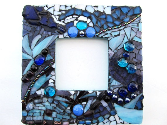 Mosaic Picture Frame Ocean Blue Mixed Media Wall Art