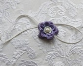 Small Lavender Flower with Pearl Center on Thin White Headband for Newborn and Baby Girls