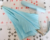 Umbrella Pale Blue Knirps Compact Collapsible with Carry Case