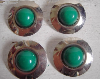 4 Metal Vintage Buttons Large Green Retro
