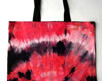 Red, White and Black Tie Dye Cotton Shopping Tote Bag