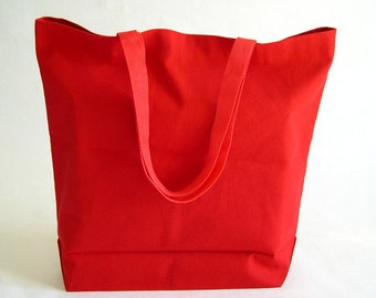 Red Cotton Duck Canvas Fabric Reusable Shopping Bag