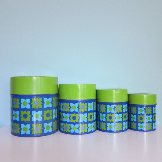 Vintage 1970's Mod Kitchen Canisters Avocado Green