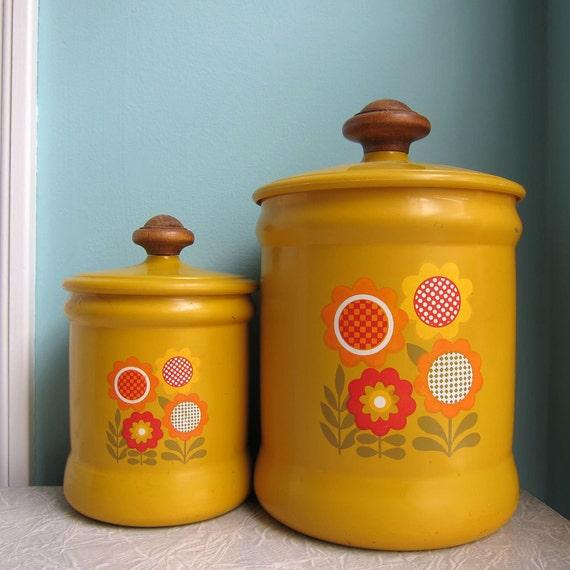Vintage Harvest Gold Kitchen Canisters Set of 2