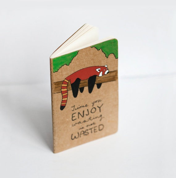 RESERVED Cute Red Panda Notebook - Handpainted