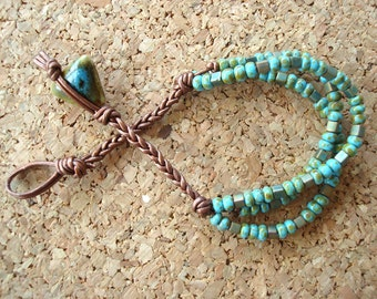 Metallic Copper Leather and Aqua Raku Japanese Cube and Round Beaded Bracelet