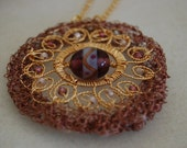 Mosaic - Wire wrapped and crocheted necklace - Item 140