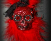 Gothic skull bow hair clip brooch- blood red