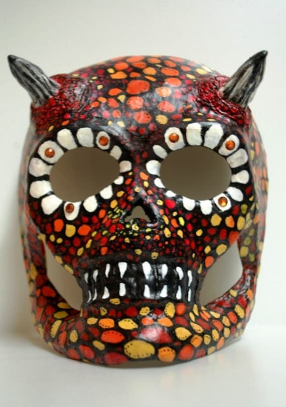 Demon Skull Mask Skull Mask Demon Altered Paper