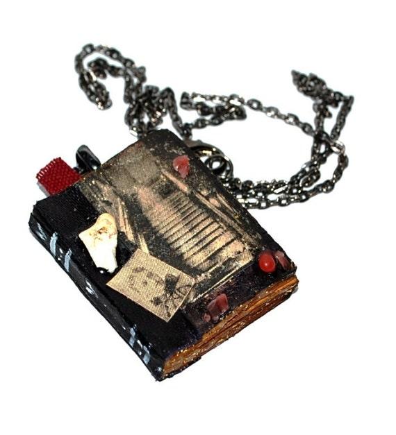 Miniature book Memento mori ghost Victorian death paper pendant with chain