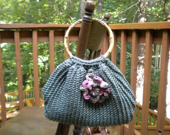Green Tote  with detachable flower pin