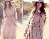 1960s Original Miss Elliette Sheer Sleeve Collared Long Blush Rose Mauve Daisy Pastel Maxi Dress - Run Away With Me