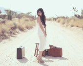Ivory Sheer Chiffon Accordian Pleat High Waisted Elastic Midi Skirt - Elegant Elle