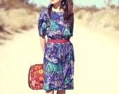 Bright Bold Cobalt Blue Turquoise Southwestern Print Button Back Dress - Beatrice