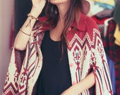 Burnt Orange Knit Collared Button Up Tribal Boho Hippie Southwestern Cape Poncho Shawl - Sienna