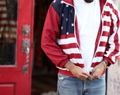 Mens Red White Blue 4th of July Flag Unisex Hoodie Zip Up - R W & B