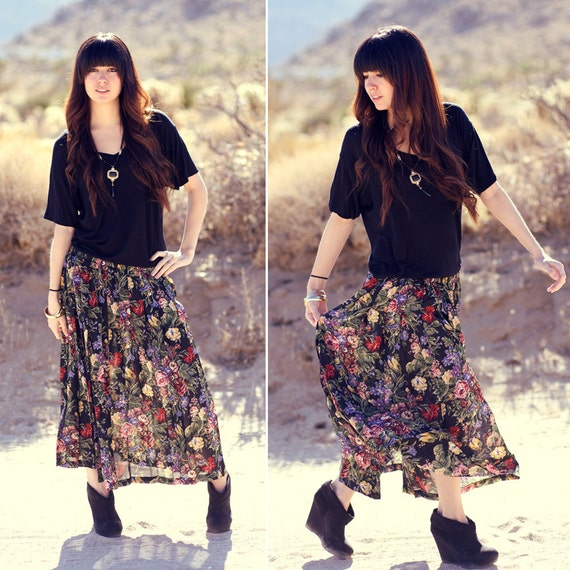 Long Floral Pleated Maxi Skirt - Betty Boho