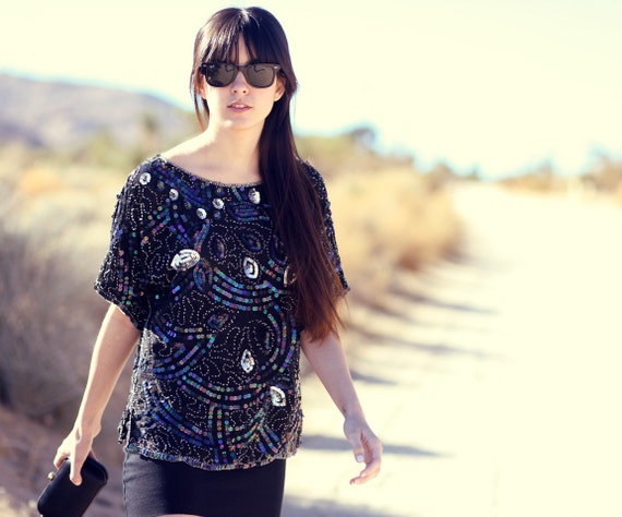Black Sequin Silver Silk Blue Beaded Irredescent Evening Top Blouse - Peacock II