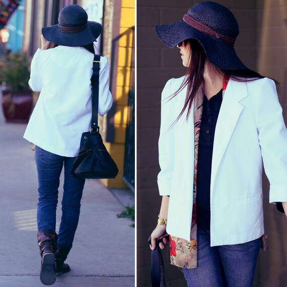 White Collared Quarter Sleeve Pleated Shoulder Cropped Blazer - White Blaze