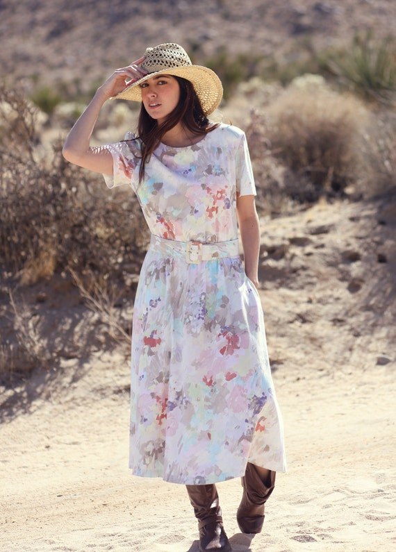 Watercolor Floral Shortsleeve Spring Summer Full Skirt Pocket Midi Dress - Water Lilly