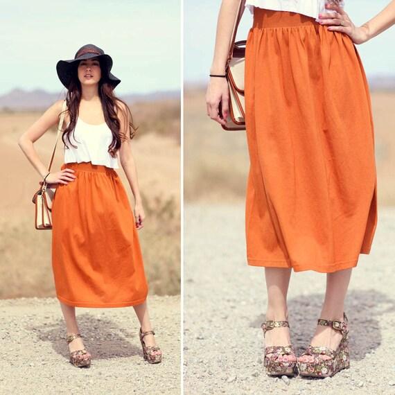 Burnt Orange Elastic Waist Midi Skirt - Pumpkin Pickins