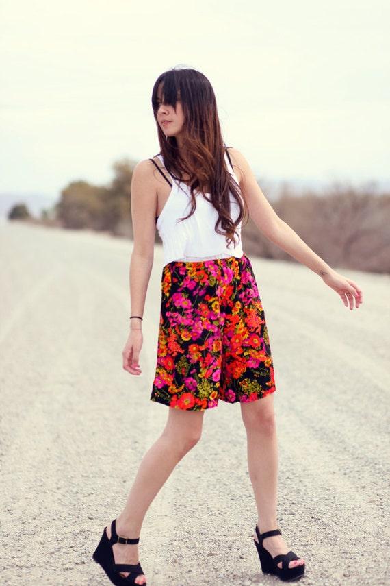 Super Hippie Retro Floral Pink Black High Waisted Vintage Shorts - Caroline