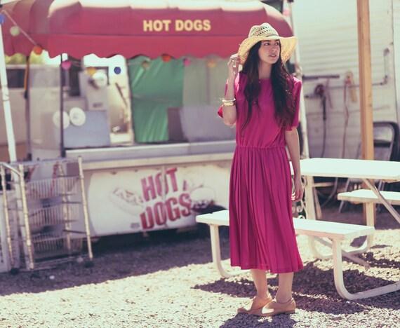 Bright Hot Pink Pleated Sweetheart Cinch Waist Midi Dress - Maggie Magenta