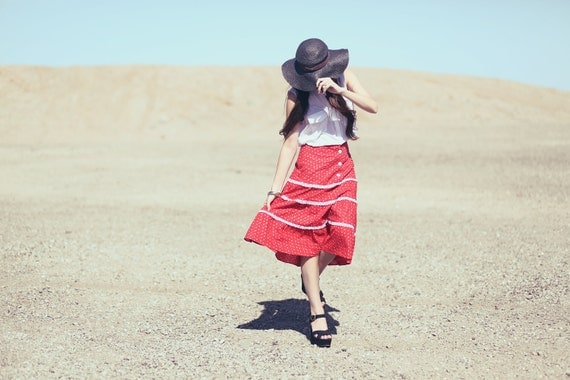 Red White Lace Floral Button Up High Waisted Tiered Prairie Skirt - Lou