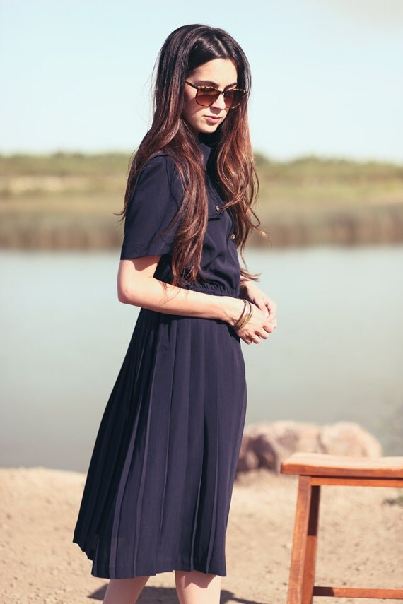 Navy Collared Cinch Waist Pleat Skirt Two Pocket Nautical Preppy Pleated Dress - Leslie