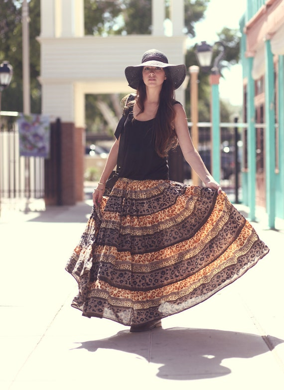 Animal Print Cheetah Boho Gypsy Cotton Maxi Skirt - Genevieve