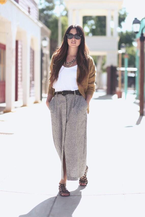 Black White Button Down Long Maxi Skirt - Becky