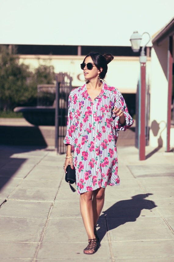 Navy Striped Hot Pink Floral Oversized Button Up Blouse Shirtdress - Matilda