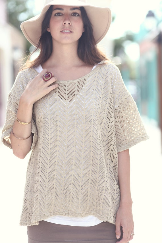 Camel Tan Mesh Knit Short Sleeve Boho High Fashion Top - Cameron