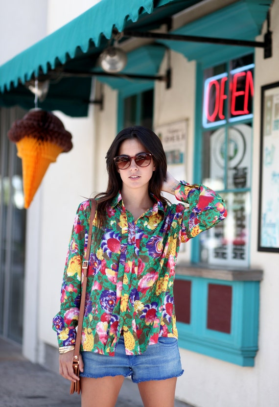 Bright Long Sleeve Hippie Floral Print Collared Blouse - Regina