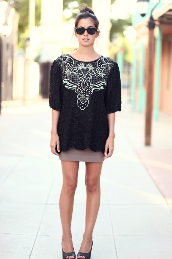 Black Sequin Beaded Silk Blouse Shirt Top - Lolly