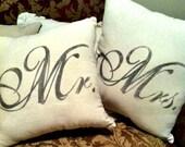Mr and Mrs Polyfil Pillows 18x18