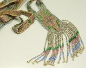20s FLAPPER SAUTOIR Carnival Glass Seed Beaded Necklace