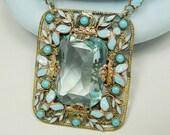 Czech Necklace Art Nouveau Art Deco Aquamarine Glass & Enamel Long Chain Filigree Pendant Turquoise Stones Sterling Clasp