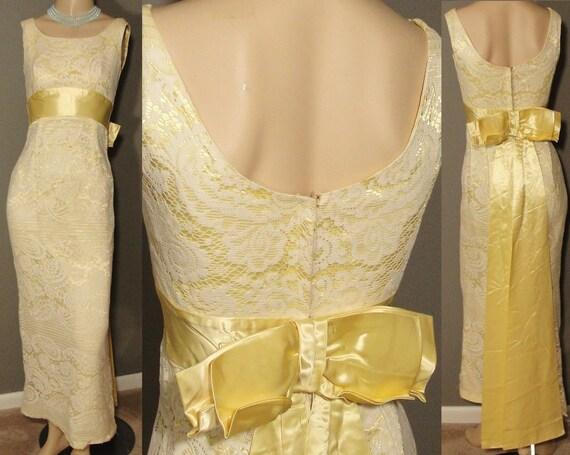 LACE & LEMON Satin Back Sash Bow Maxi Wiggle Dress XS