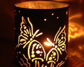 Butterfly Garden - candle holder - Recycled tin can freehand torch cut metalwork from New Mexico