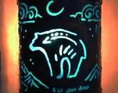 Bear - night light - Recycled tin can freehand torch cut metalwork from New Mexico