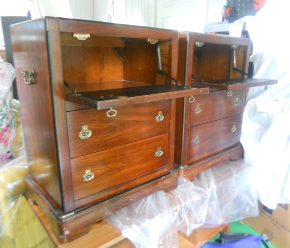 Fantastic Pair of 3 Drawer Side Tables by National Mt Airy.