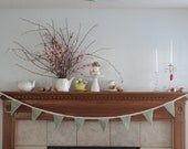 Green Wool Bunting with Vintage Lace