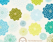 Colorful Blooms SET - 02 (6inch)Clip Art
