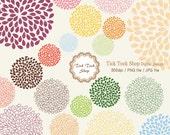 20 Colorful Flower SET - 01(6inch)Clip Art