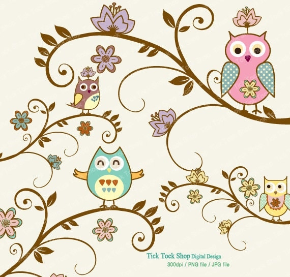 items similar to oriental style tree and owl set  6 inch Baby Owl Clip Art Cartoon Owl Clip Art