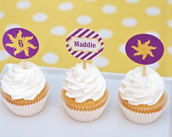 Rapunzel Party CUSTOM Cupcake Toppers & Stickers Printable PDF with Child's Name