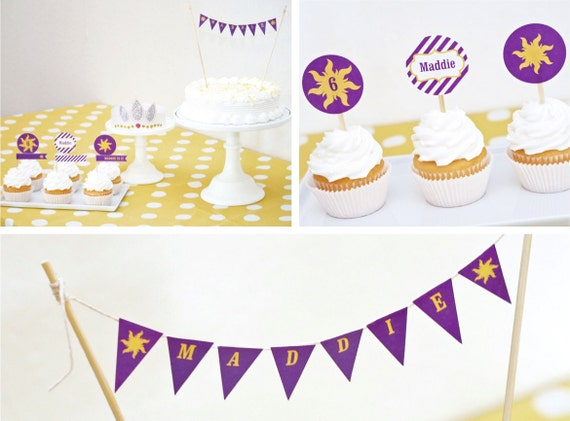 Rapunzel Birthday Cake CUSTOM Sun Mini Bunting Printable with Child's Name