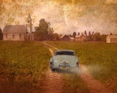 Photo print entitled:  Vintage Ride - vintage bel air car chevy with grunge town view church