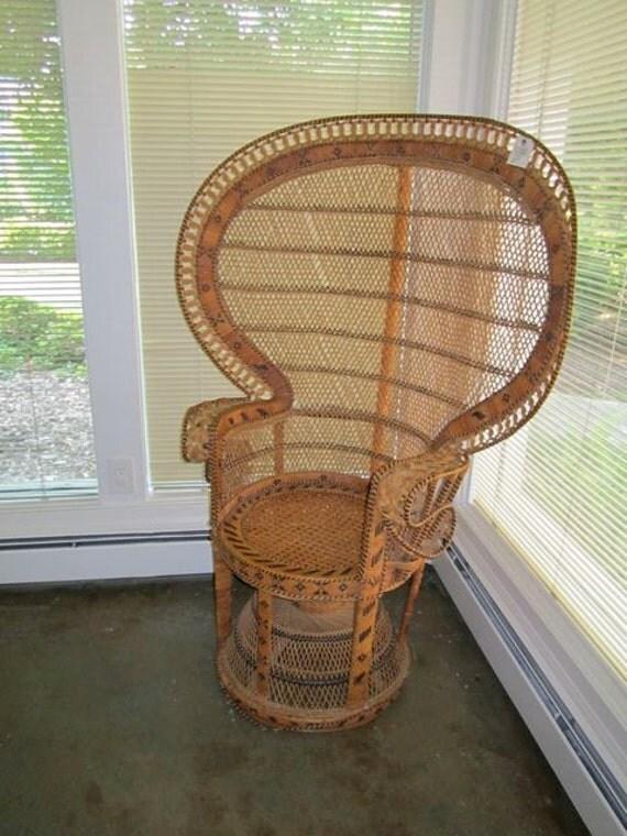 Handwoven Highback Hawaiin Rattan Peacock Chair